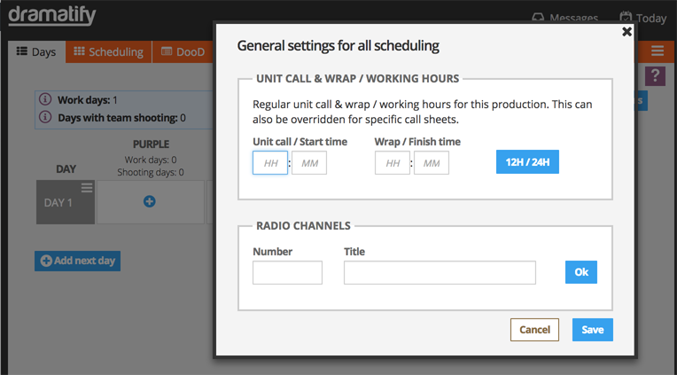 Set working hours and radio channels