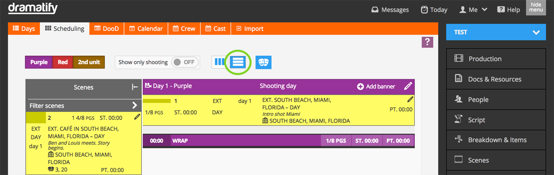 Scheduling stripboard view