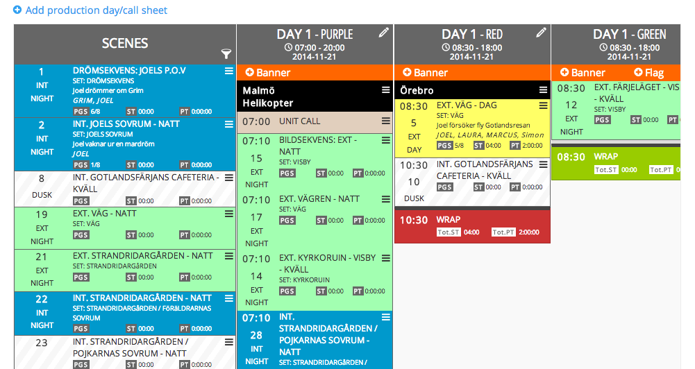 New drag and drop TV & film production scheduling