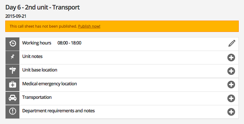 Transportation call sheet