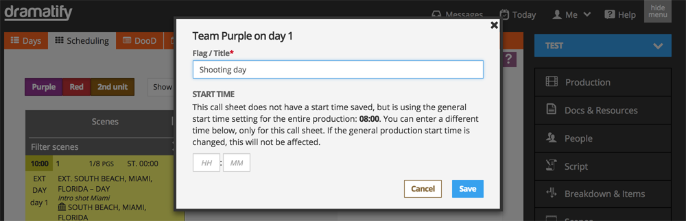 Scheduling: Add custom start time