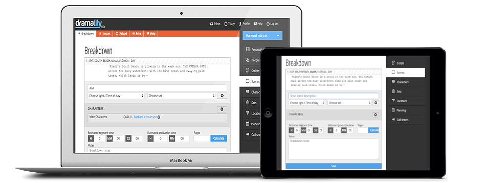 Script breakdown now added to Dramatify's scheduling suite!