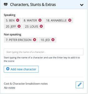 Script Breakdown: Characters, Stunts & Extras