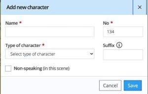 Script Breakdown: Add a new character