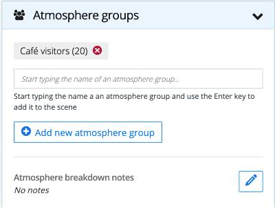 Script breakdown: Atmosphere groups