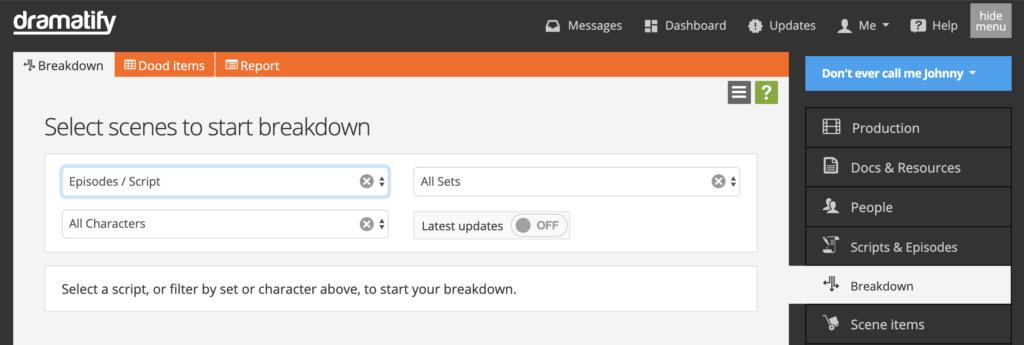 The main script breakdown page when you start your script breakdown