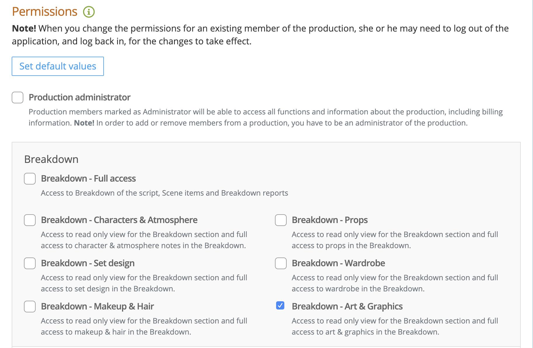 Adding Breakdown permissions