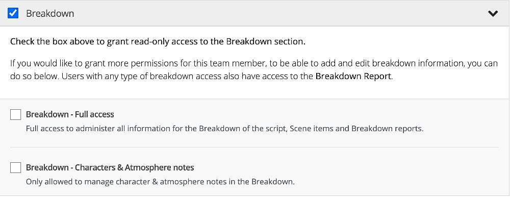 Breakdown report permission