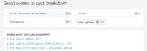 Script breakdown tutorial: Breakdown scene list