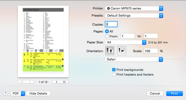 Printing the scene list