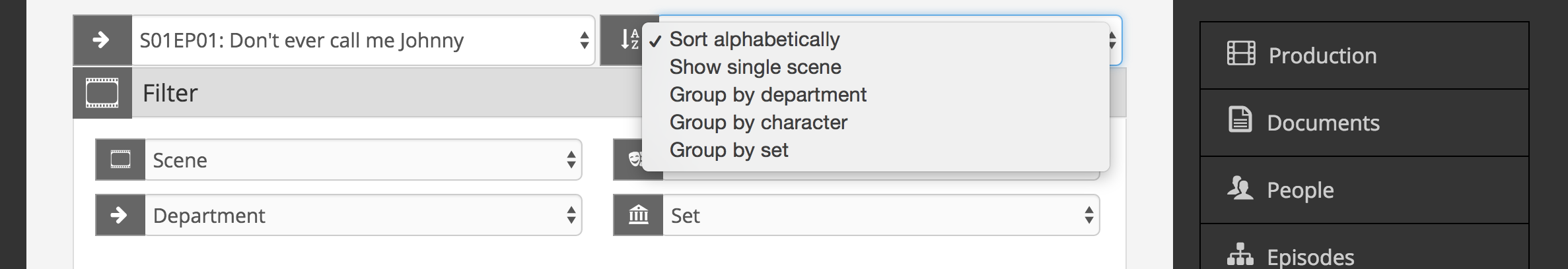 Sort and filter scene items