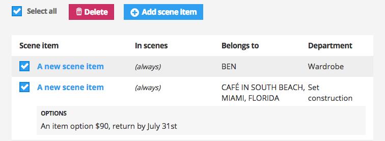 Bulk delete scene items