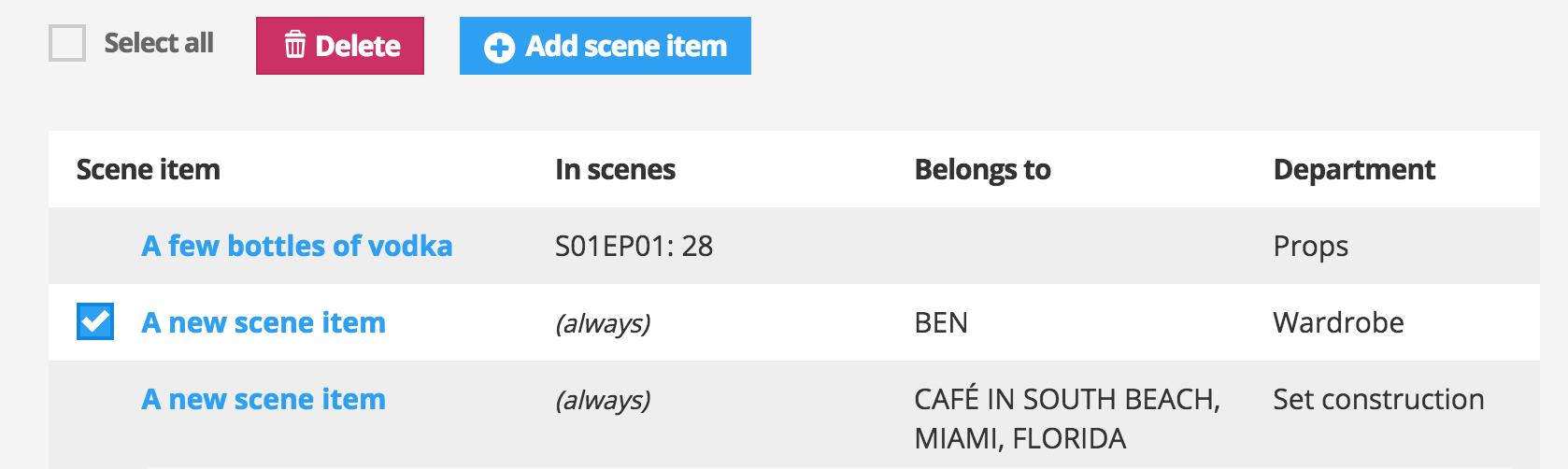 Scene item list