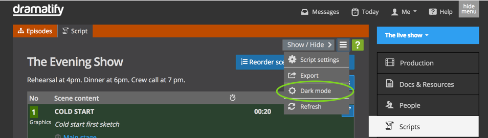 Add dark mode to your entertainment script and rundown