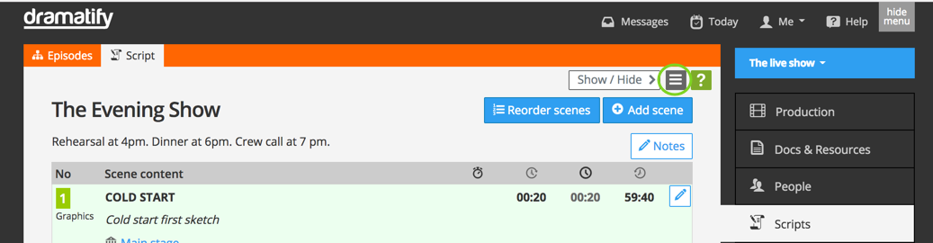 Live/studio script menu