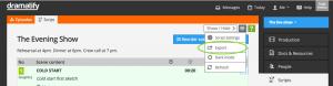 Teleprompter export of live/studio script and rundown