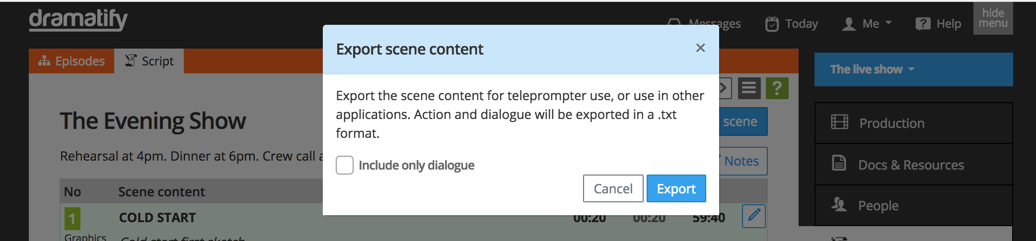Selecting teleprompter export