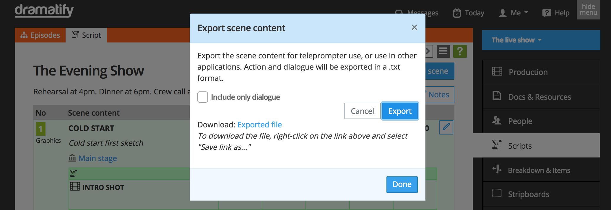 Copy / duplicate a scene - live/studio script