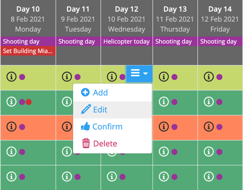Crew scheduling - adding, editing and deleting bookings