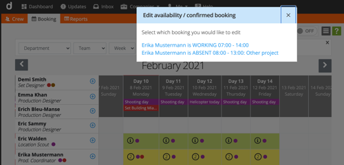 Crew scheduling - select booking to edit