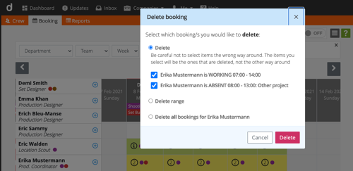 Crew scheduling - delete multiple bookings