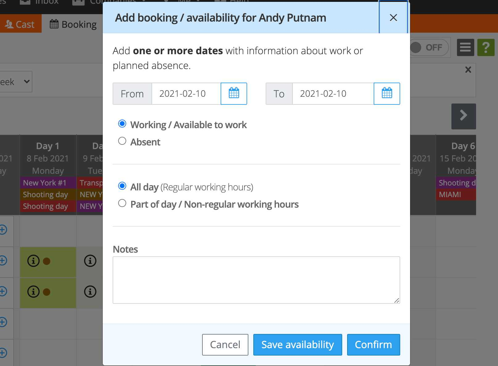 Add cast booking-availability