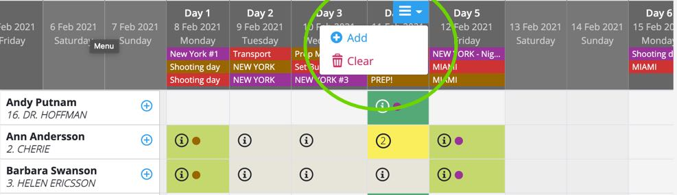 Cast booking - clear a day