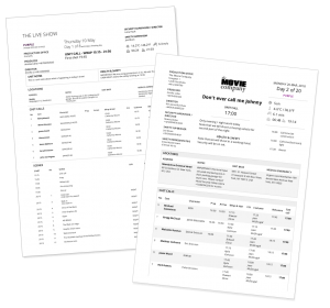 Printed call sheets for TV, film, video, commercials, broadcast, VR, 360°