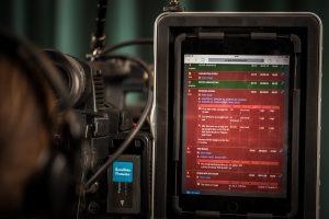 Dramatify's multi-camera live/studio script & rundown tool in dark mode