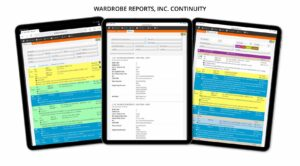 Wardrobe reports and continuity for TV, film, drama, entertainment, commercials online software for teams