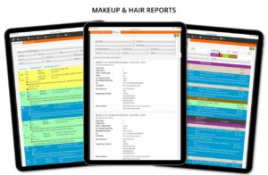Makeup & Hair reports for TV, film, drama, entertainment, commercials online software for teams