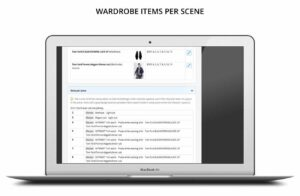 Wardrobe items per scene report for TV, film, drama, entertainment, commercials online software for teams